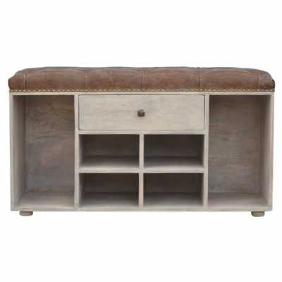 IN2032 Shoe Cabinet With Upholstered Deep Buttoned Top