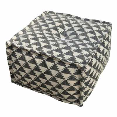 Durrie Grey White Triangle Pattern Pouffe