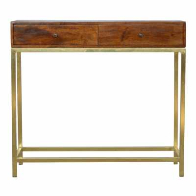 Scandinavian Style 2 Drawer Console Table With Industrial Style Iron Base