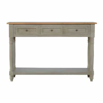 Solid Natural Mango Wood 3 Drawer Grey Painted Console Table With Turned Legs