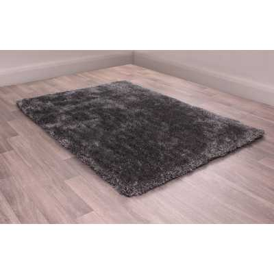 Modern Shaggy Style Indulgence Plain Charcoal Polyester Rug 60 x 220