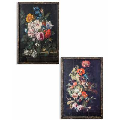 Set Of 2 Antique Style Boho Chic Floral Patterned Rectangular Wall Prints 120 x 80cm
