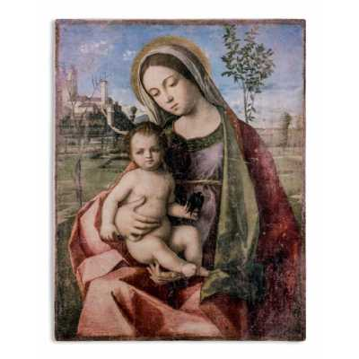 Contemporary Style Antiqued Stone Effect Madonna With Child Fresco Style Rectangular Wall Art 90 x 70cm