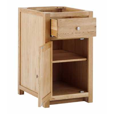 Handmade Oak Kitchens Left 1 Door 1 Drawer Cabinet With soft close drawers