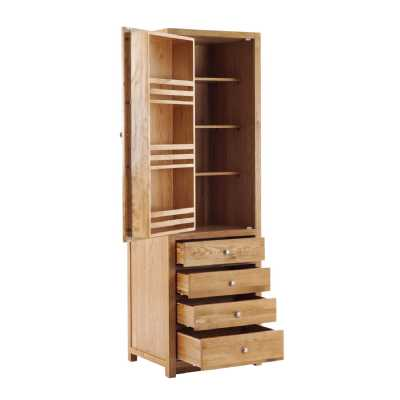 Handmade Oak Kitchens Left 1 Door 4 Drawer Tall Larder Cabinet With soft close dra
