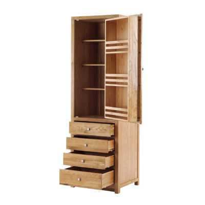 Handmade Oak Kitchens Right 1 Door 4 Drawer Tall Larder Cabinet With soft close dr
