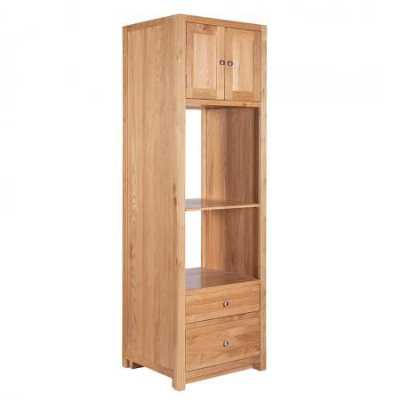Handmade Brown Oak Wood Lacquered Minimalist Tall Kitchens Double Oven Cabinet 216cm Tall