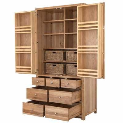Handmade Oak Wood Double Kitchen Larder Lacquered Finish Tall Rectangular 7 Drawer 4 Basket 1100x600x2160cm