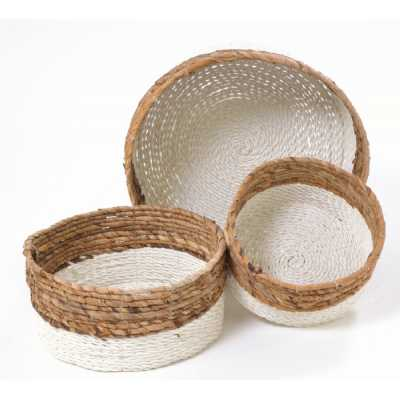 Natural And White Set Of 3 Woven Baskets