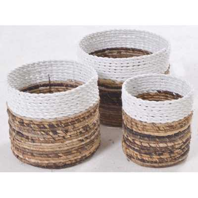 Set Of Three White Rimmed Baskets