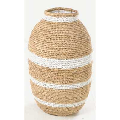 Woven Urn Basket With Narrow Stripes