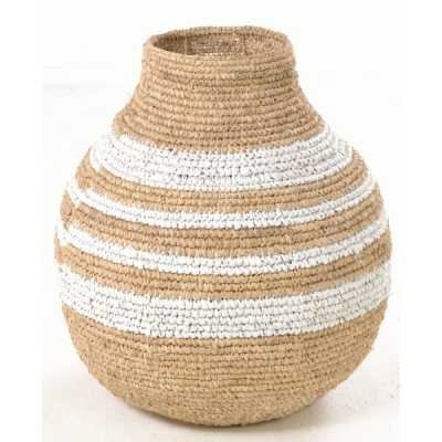 Woven Rounded Striped Basket