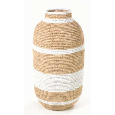 Woven Urn Basket With Broad Stripes