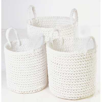 White Rope Set Of 3 Baskets