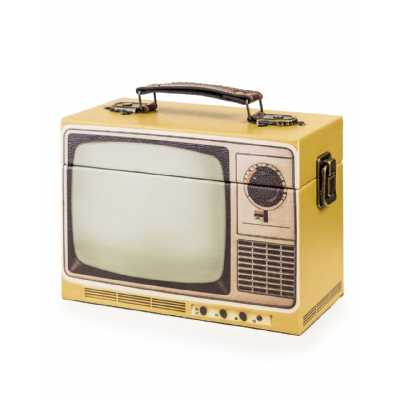Retro Style Yellow Television Themed Storage Box 14 x 20cm