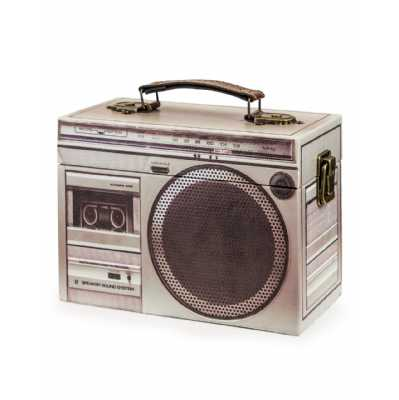 Retro Style Grey Stereo Themed Storage Box 14 x 20cm