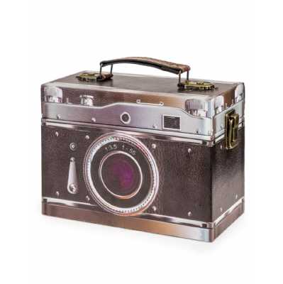 Retro Style Black Camera Themed Storage Box 14 x 20cm