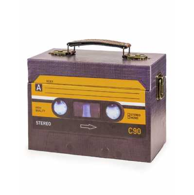 Retro Style Black Cassette Themed Storage Box 14 x 20cm