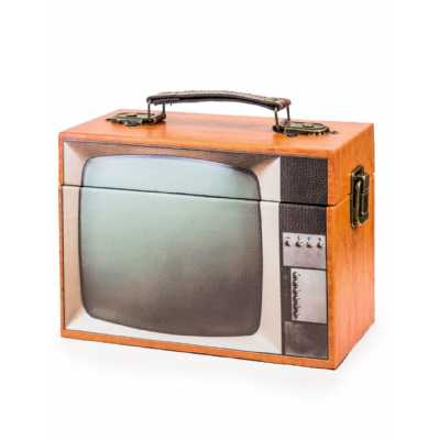 Retro Style Brown Television Themed Storage Box 14 x 20cm