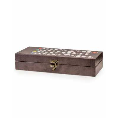 Grey Retro Funky Style PU Leather Remote Control Storage Box 5.5x29x8.5cm