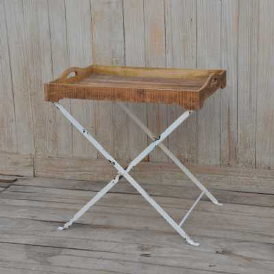 Eclectic Industrial Style Iron And Wood Cross Legged Rectangle Serving Tray Table 77X57X78cm