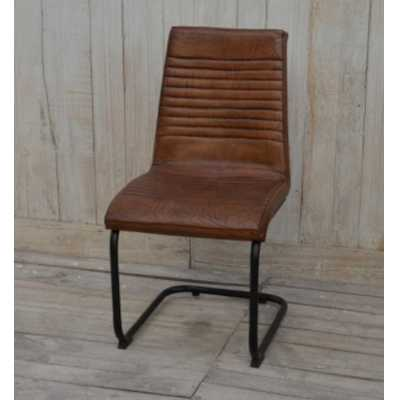 Eclectic Furniture Brushed Buffalo Leather Metal Framed Dining Chair 47x60x94cm