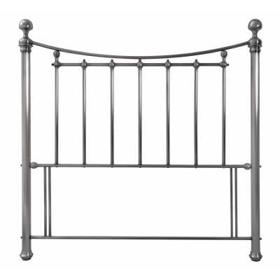 Isabelle Contemporary Style Antique Nickel Metal 150cm King Size Slatted Headboard With Crystal Effect Finials