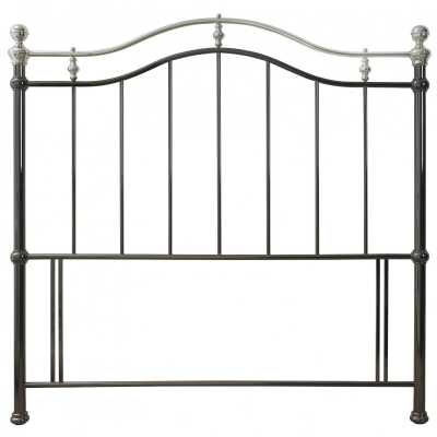 Chloe Black And Shiny Nickel Metal Traditional Style Arched Headboard 5ft King Size 150cm