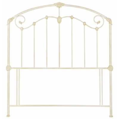 Vintage Traditional Metal Antique Ivory Cream Painted 5ft King Size 150cm Bed Headboard