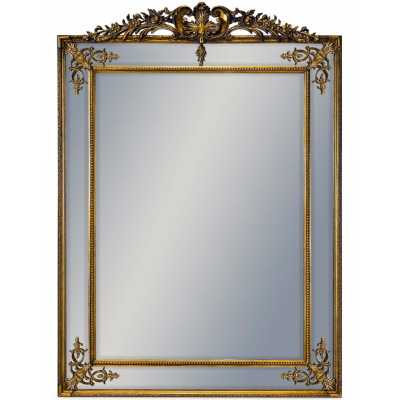 Large French Leaner Extra Large Wall Mirror Gold Trim Carved Ornate Crested Top 192x134x6cm