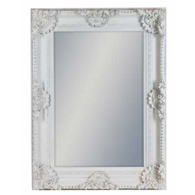 White Painted Rectangular Classic Wall Mirror With Ornate Carved Frame