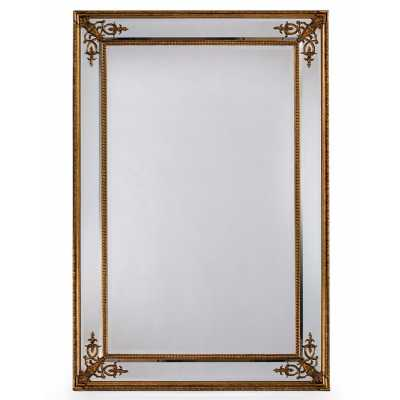 Large Ornate Carved Rectangular Gold French Wooden Framed Large Wall Mirror 192 x 134cm