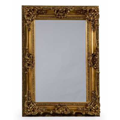 Small Rectangular Regal Wall With Mirror Antique Gold Ornate Frame