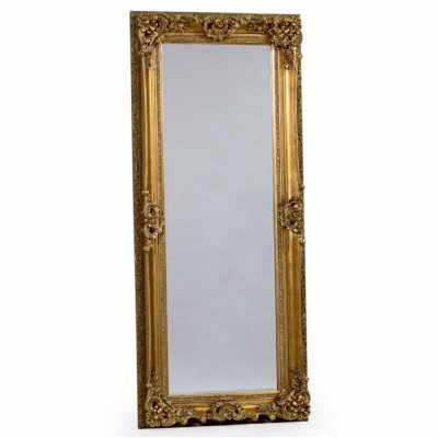 Large Tall Regal Wall Mirror With Antique Gold Ornate Carved Frame