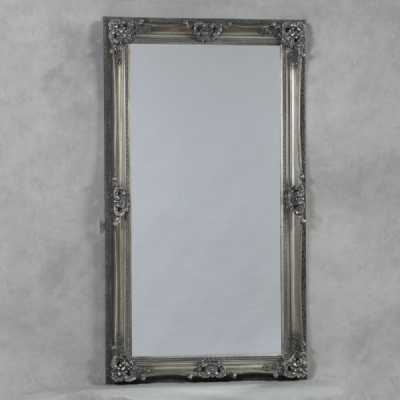Antique Silver Finish Rectangular Large Regal Style Wall Mirror