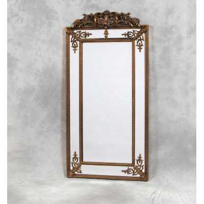 Tall Rectangular Gold French With Crest Wall Mirror With Border Frame
