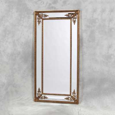 Large Tall Wide Gold Framed French Style Wall Mirror Decorative Edge Without Crest