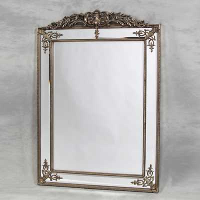 Large Silver French Rectangular Large Wall Mirror Decorative Trim Carved Ornate Crest Top 192x134x6cm