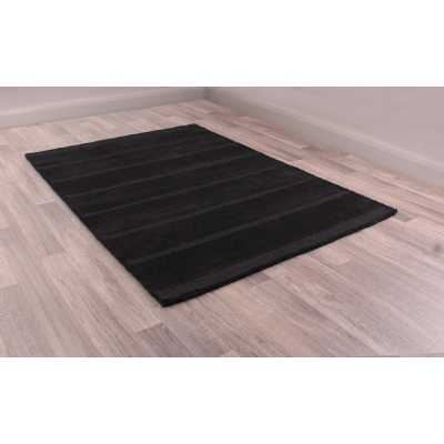 Miami Wool Black Modern Style Bordered Striped Rug 60 x 200