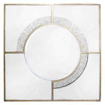 Gold Art Deco Antique Style 90cm Square Wall Mirror Mirrored Glass Frame