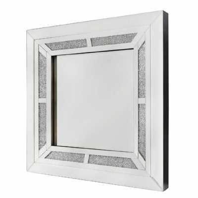 Modern Crystal Diamond 60cm Square Wall Mirror with Clear Mirror Frame