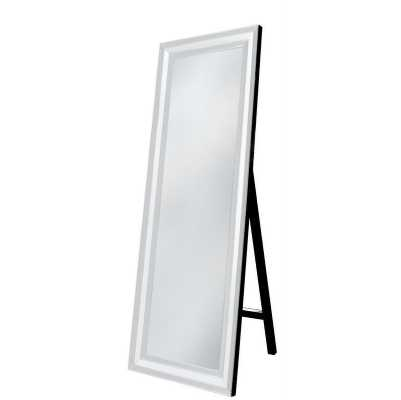Contemporary White Mirrored Glass Floorstanding Mirror