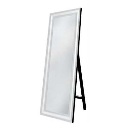White Mirrored Glass Floor Standing Mirror