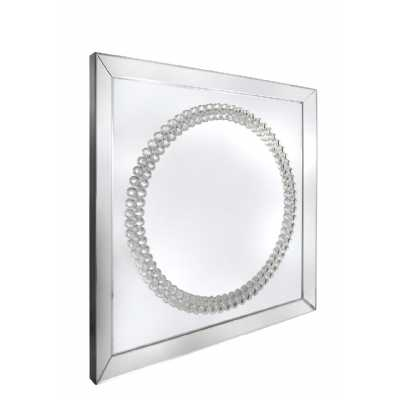 Decorative Mirrored Glass Framed Wall Mirror with Crystals