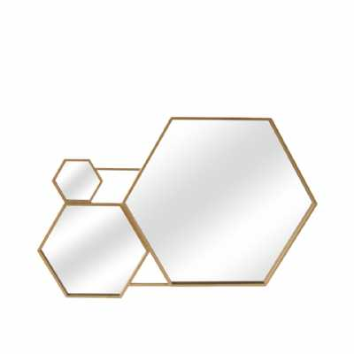 Value 100cm Gold Hexagon Wall Mirror