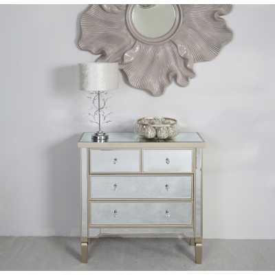 Silver Mirrored Glass Bedroom 4 Chest of Drawers Dark Champagne Trim 83x85x32cm
