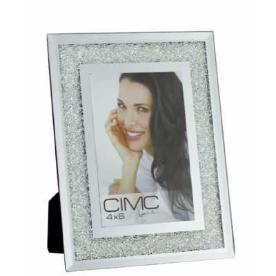 Value Glass Crush Silver Small Photo Frame