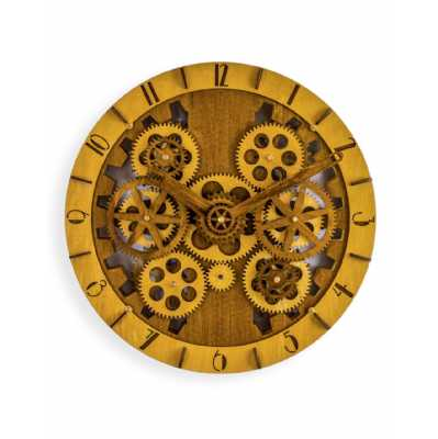 Industrial Style Round Wooden Wall Clock With Moving Gears 35 x 35cm