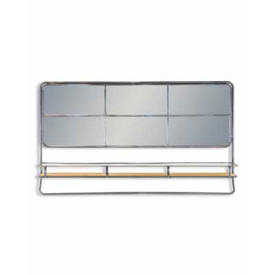 Contemporary Style Industrial Metal Rectangular Shaped Landscape Wall Mirror 55x94x13.8cm With Shelf
