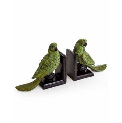 Pair Of Quirky Green Parrot Sitting On Ball Bookends 22x25.5x10cm Each